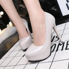 zapatos de salón tacón de aguja 12 elegantes blanco crema brillante plataforma