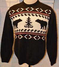 Men's Chaps Lodge Black Long Sleeve Pullover Crew Sweater Top Size M, L, XL, 2XL