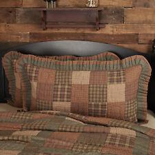Vhc Primitive Pillow Sham Case Cover King Standard Cotton Patchwork Brown Tan