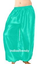 Turquoise Satin Harem Yoga Pant BellyDance Costume Tribal Pantalons Trouser Boho
