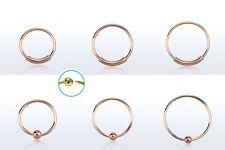 Nasenring 925er Silber/Rosegold Plattiert in 3 Größen 2 Arten Nosering 0,8mm NEU