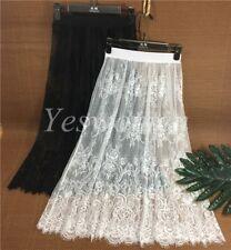 Lady Cotton Lace Floral Lace Half Slips Under Dress Underskirt Petticoat 74cm