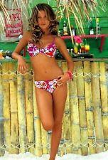 Damen Bügel Bikini Badeanzug Weiss-Pink-Gelb geblühmt Buffalo Größe 34 C Cup