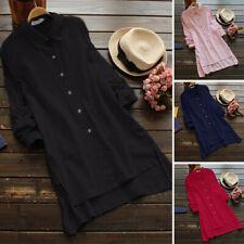UK 8-24 Women Casual Long Sleeve Loose Tunic Tops Split Slit T Shirt Blouse Plus