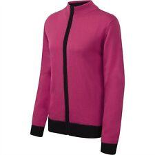 Cypress Point Full Zip Golf Cardigan Fuchsia Pink/Black Wool Mix 12,14,16,18 New