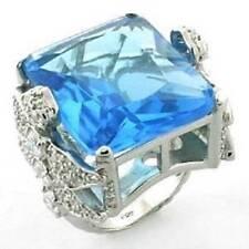 LOA646PB PRINCESS STERLING SILVER .925 RING BIG AQUAMARINE SIMULATED DIAMONDS