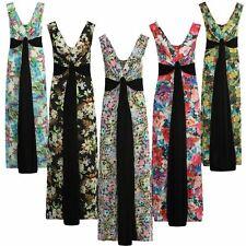 New Ladies Curve Grecian Boob Knot Floral Print Long Summer Maxi Dress 8-26