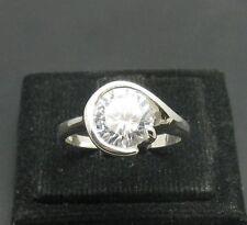 anello argento sterling MASSICCIO 925 WITH 9mm ZIRCONE CUBICO r000585 EMPRESS