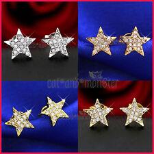 9K GOLD GF STAR PENTAGRAM SIMULATED CT DIAMOND MENS WOMEN GIRLS EARRINGS JEWELRY