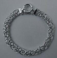 Byzantine Bracelet 9.5mm Domed Oval Rhodium Over Sterling Silver 7, 7.5, 8 inch