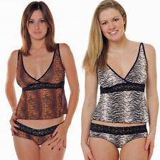Plus Size Lingerie 1X 2X 3X Gold or Silver Zebra Print Camisole Set   VX7086X