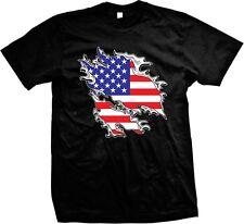 United States of America USA Flag Stars And Stripes Red White Blue Mens T-shirt