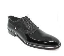Scarpe cerimonia eleganti uomo NERO derby sposo zebrato made Italy shoes laether