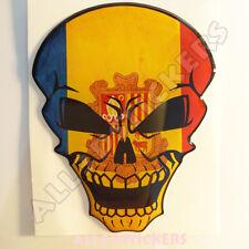 Sticker Flag Andorra Skull Adhesive Decal Resin Domed Car Moto Tablet Laptop 3D