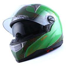 NEW DOT Motorcycle Bike Dual Visor Full Face Helmet Element Green S M L XL XXL