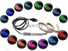 4,5V USB LED RGB Strip Leiste mit Mini Controller To PC Tab Notebook Laptop TV