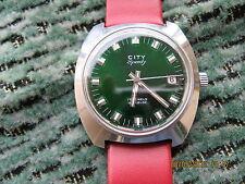 Beautiful City Speedy ETA 2763 stop second-hacking S/steel green dial wristwatch