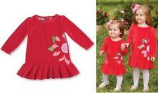 NWT Mud Pie Poinsettia Christmas Holiday Girls Red Velur Dress 3-6 6-9 9-12 M