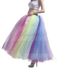 Retro Underskirt Long Swing Fancy Petticoat Net Skirt Rainbow Colorful Slips