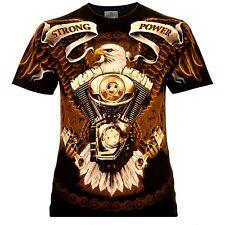 Rock Eagle Herren T-Shirt Schwarz Strong Power Rocker Style Biker Designe