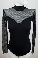 Gorgeous Long Sleeve Bodysuit Mesh Leotard Lingerie Black Top Blouse nightwear