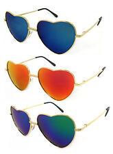 Retro Lolita Heart Shaped Light Gold Metal Frame Full Mirror Women Sunglasses