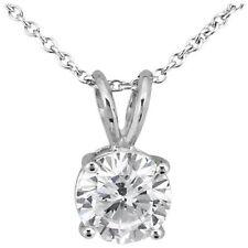 "0.5 Carat Diamond G-H I1-I2 14K White Gold Solitaire Pendant Necklace 18"" Chain"