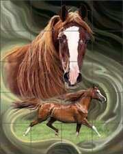 Horse Tile Mural McElroy Equine Art Ceramic Backsplash Kitchen Shower KMA056