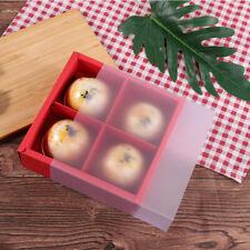 4 Pack Kraft Paper Drawer Frame Box with Matte PVC Plastic Cover for dessert