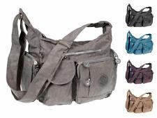 Damen Canvas Schultertasche Tasche Umhängetasche Shopper Crossover Bag Bodybag