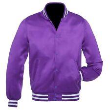 Purple Satin Varsity Letterman Bomber Baseball Jacket Rib Purple & White