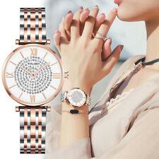 Women Ladies Stainless Steel Diamond Analog Quartz Wrist Watches Bracelet Gift