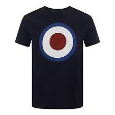 MENS MERC LONDON MOD TARGET LOGO COTTON T-SHIRT STYLE TICKET - NAVY BLUE