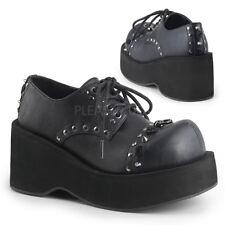 Demonia DANK-110 Women's Black Vegan Leather Platform Lace Up Flat Oxford Shoes