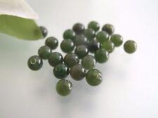 Vintage untreated 4mm Green Jade half drilled gemstone round beads DIY Earrings