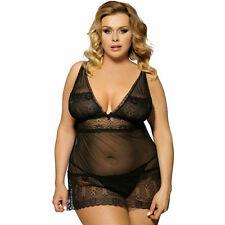 Plus Size Black Lace Chemise Babydoll Women's Lingerie L to 5XL