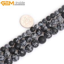 Black Snowflake Obsidian Jasper Natural Stone Forested Matt Round Beads Making