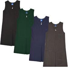 Girls Kids School Pleated Plain Pinafore Dress Uniform Zip Heart Age 2-16 Grey