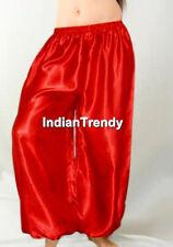 Red - Women Girl Satin Harem Yoga Pant BellyDance Tribal Trouser Genie Halloween