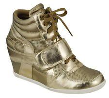 DAKOTA-01 Metallic Gold Hidden Wedge Sneakers