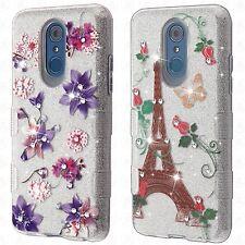 For LG Q7+ TUFF SHINE Hybrid Hard Case Rubber Phone Cover Accessory