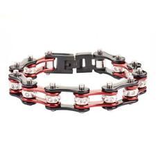 Burgundy Black Stainless Steel Motorcycle Racing Bike Chain Bracelet w/ Crystals