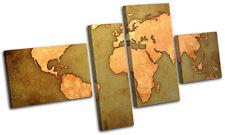 World Atlas  Maps Flags MULTI CANVAS WALL ART Picture Print VA