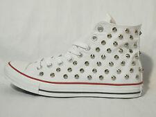 Converse all star Hi borchie scarpe donna uomo optical white bianco artigianali