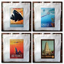 Cotton tote bags vintage travel posters eco friendly shopper bag set No.1