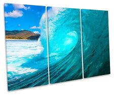 Beach Surf TREBLE LONA de onda estrellarse Pared Arte cuadro enmarcado impresión