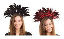 Noir ou noir/rouge plumes carnaval coiffure robe fantaisie