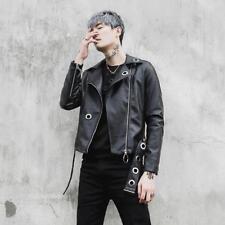 Fashion Mens Punk Black Lapel Faux Leather Jacket Youth Biker Motorcycle Coats c