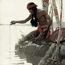Indian Fishing 1908 N C Wyeth Native American Artwork Wall Art Poster Print Repr