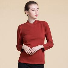 Womens 100% Fine Wool Sweater Overlap V Neck Long Sleeve